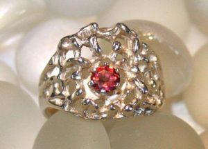 Idaho Garnet in Textured Ring