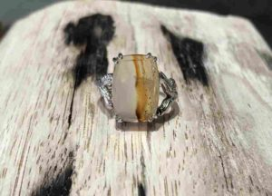 Square Montana Agate Ring