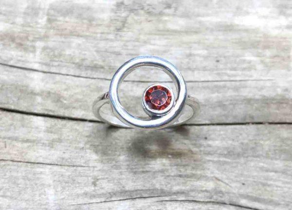 Garnet Open Circle Ring